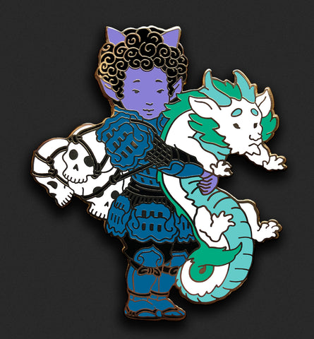 Oni and Dragon Pin - Blue