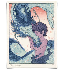 'Oni and Dragon' Woodblock Print