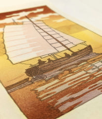'Sailing in Akashi Bay, Evening' Woodblock Print