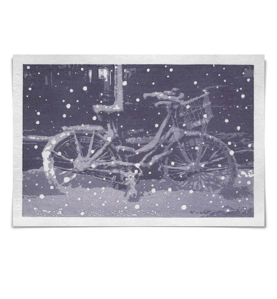 'Snow Bike' Woodblock Print