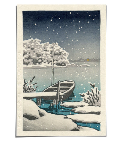 'Snow on Water' Woodblock Print
