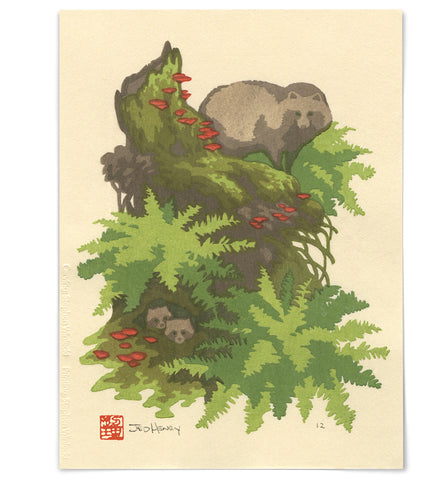 'Tanuki in the Forest' Woodblock Print