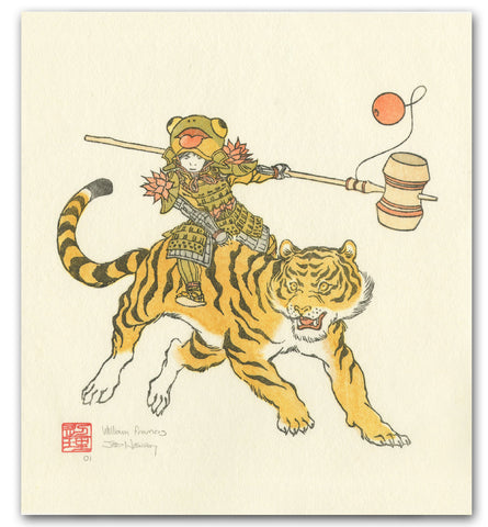 'Tiger Rider' Woodblock Print