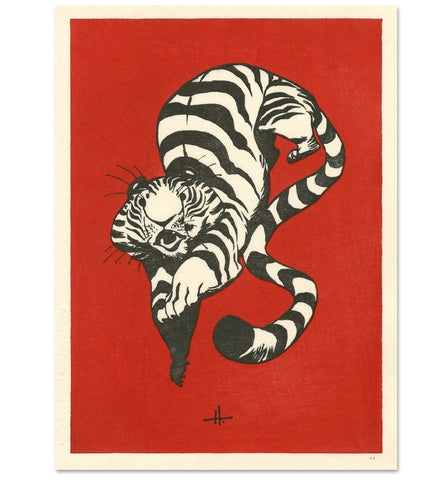 'Tiger Drop' Woodblock Print