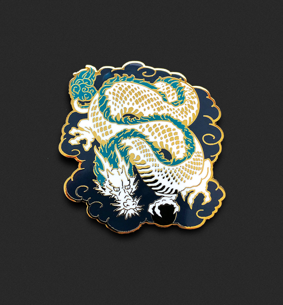 Lucky Dragon Pin - White
