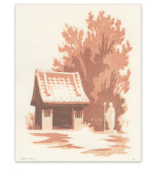 'Winter Shrine' Woodblock Print