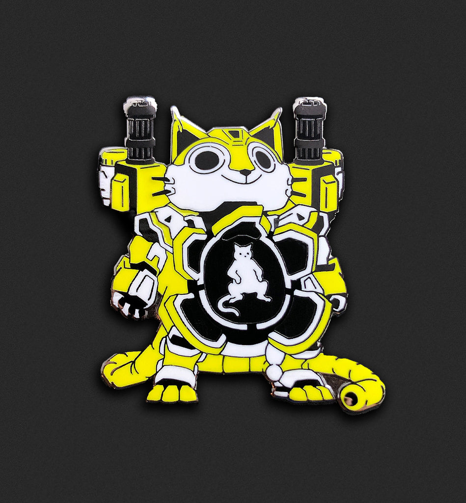 Mecha Cat Pin - Electric Yellow