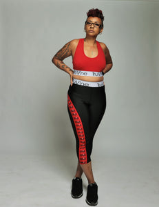 Red & Black Women's Leggings