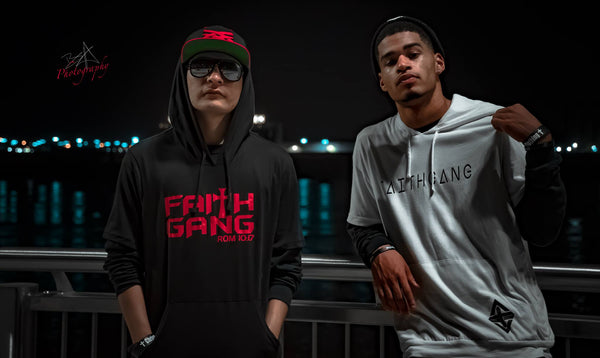 Faith Gang Men's White Short Sleeve Hoodie