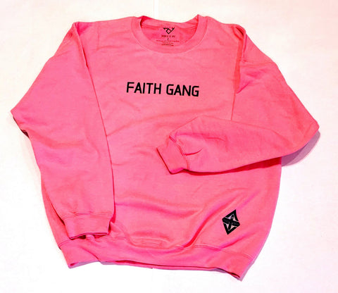 Faith Gang Crewneck Sweatshirt Pink/Black Design