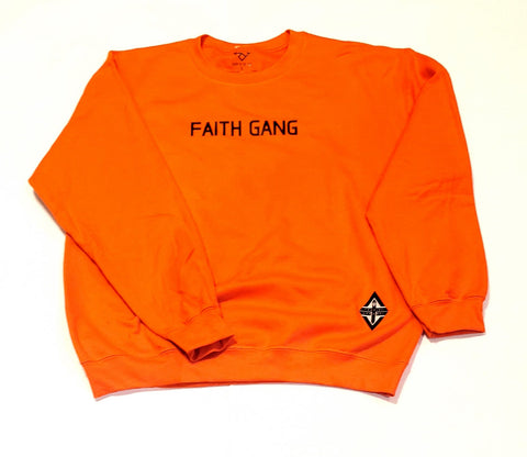 Faith Gang Crewneck Sweatshirt Orange/Black Design