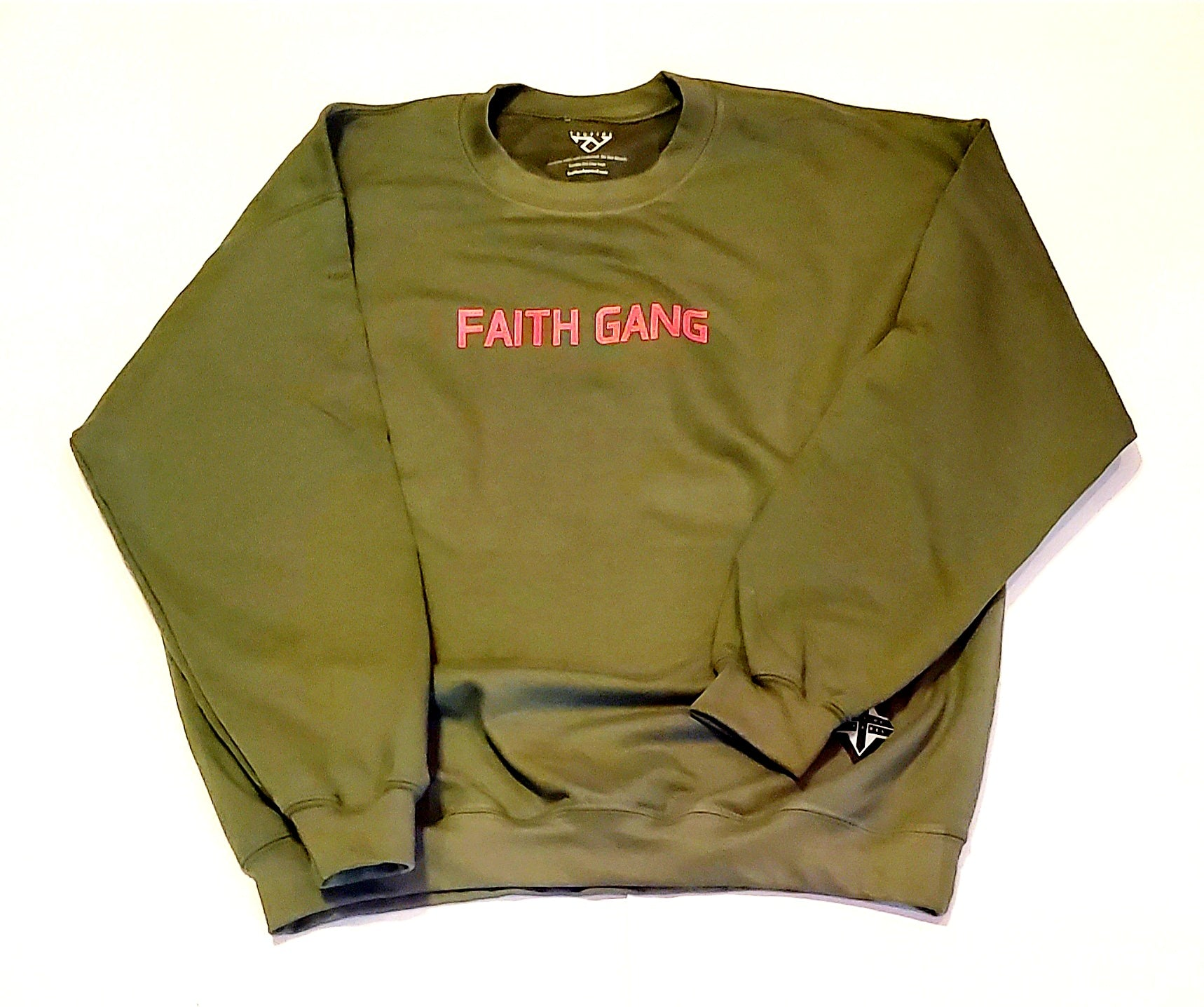 Faith Gang Crewneck Sweatshirt Military Green/Pink Design