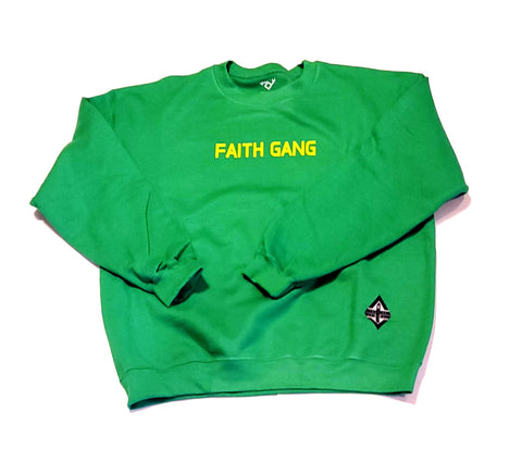 Faith Gang Crewneck Sweatshirt Green/Yellow design