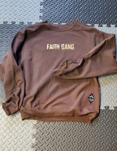 Faith Gang Crewneck Sweatshirt Brown/Gold Design