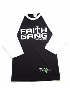 Faith Gang Baseball Tee  (Black/White)