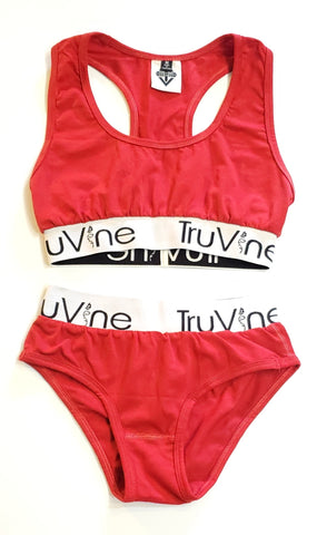 Modern Red Bralette & Bikini Set
