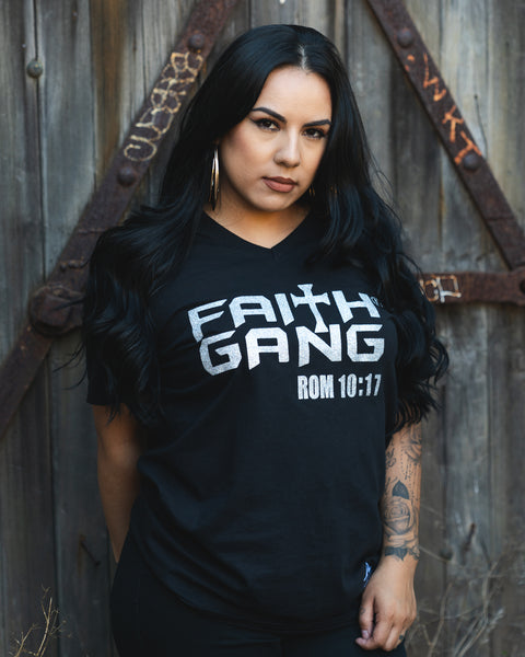 Faith Gang Women's V-Neck T-Shirt (multiple color options)