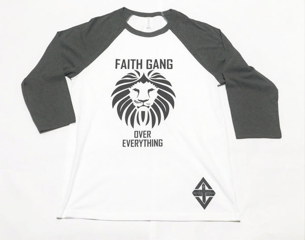 Faith Gang Over EveryThing Baseball Tee (White/Gray)