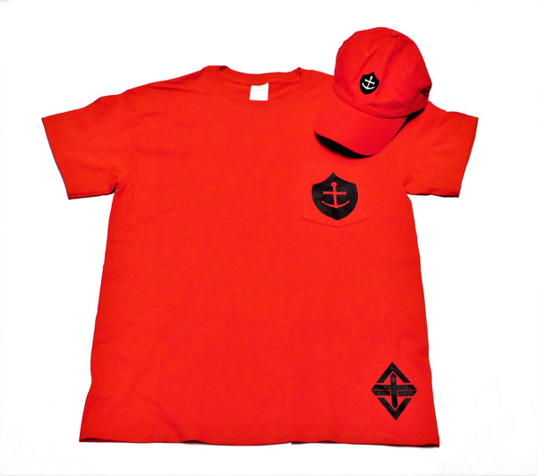 Shield of Faith | Anchored in Hope Unisex Pocket Tee (Red)