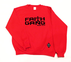 Faith Gang Crewneck Classic Sweatshirt (multiple color options) Black Design