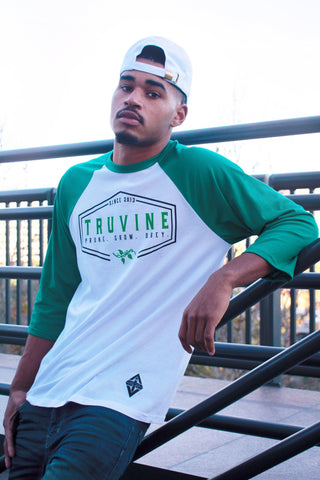 Prune.Grow.Obey. Kelly Green Baseball Tee (unisex)
