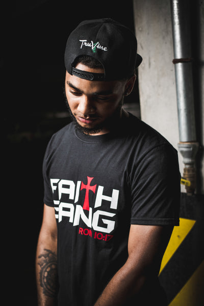 Faith Gang Unisex Black & Red Tee