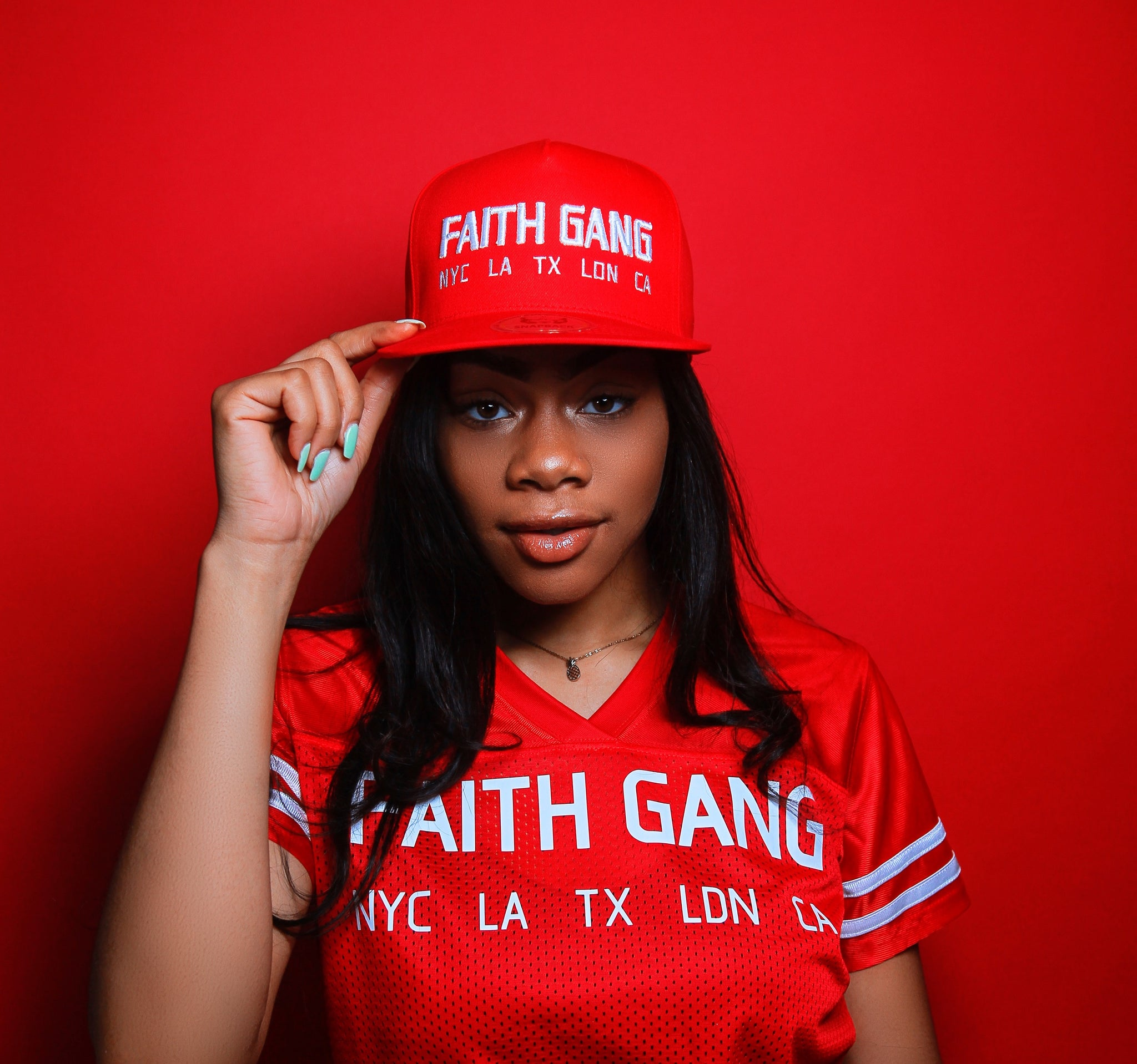 Faith Gang Worldwide Red Snapback