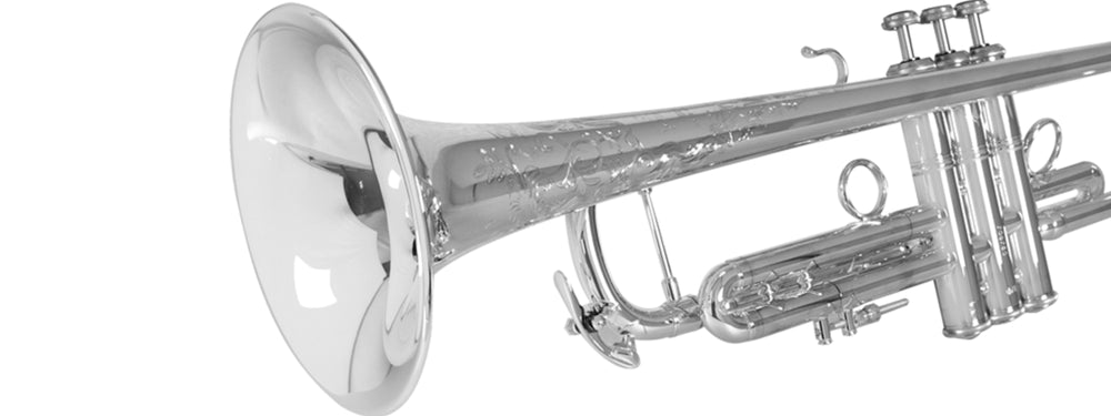 Bach trumpet in silver plate with ornate engraving