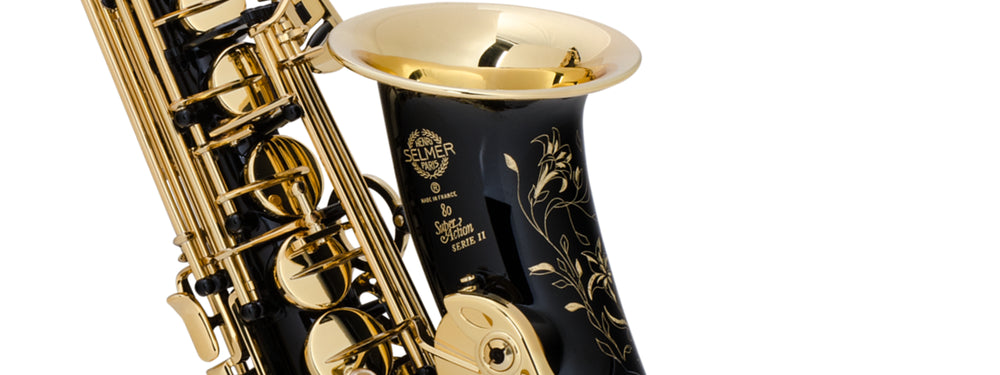 Selmer Paris saxophone in black lacquer with ornate bright brass engraving