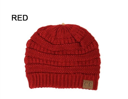 Slouchy Knit Beanie - RED - Bloom and Snow Boutique