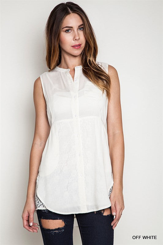 Sleeveless Off White Top - Bloom and Snow Boutique