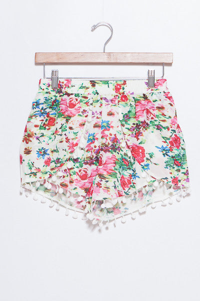 Rose Pom Pom Shorts - Bloom and Snow Boutique