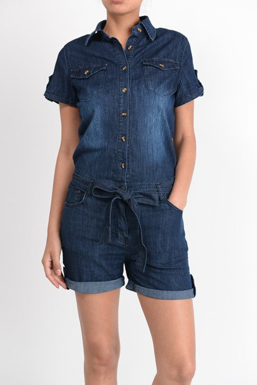 Denim Romper - Bloom and Snow Boutique