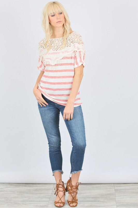Coral Crochet Top - Bloom and Snow Boutique