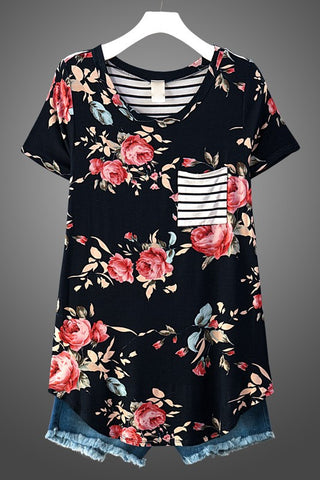 Floral and Strip Back -Navy