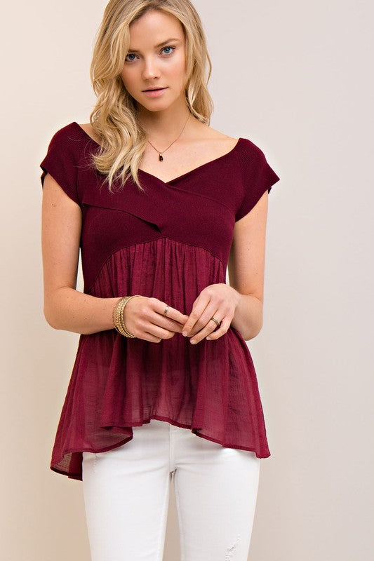 Burgundy Off The Shoulder Top - Bloom and Snow Boutique