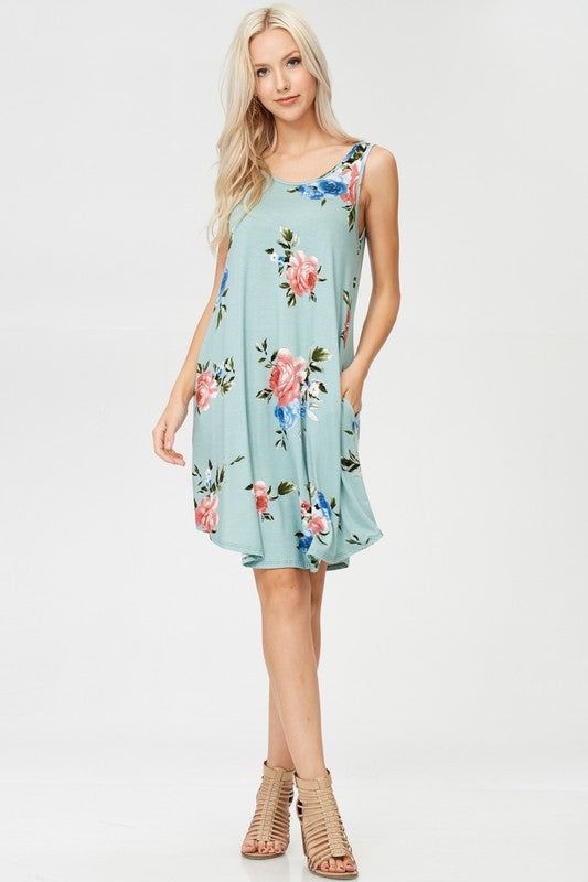 Floral Sage Tunic Dress
