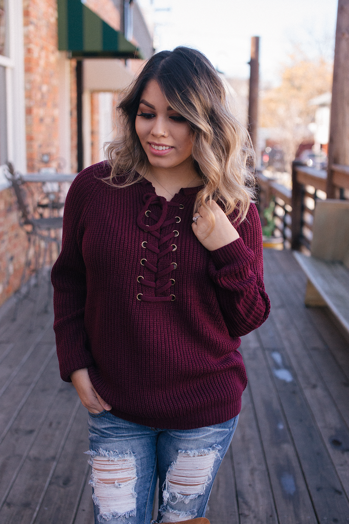 Burgundy Knit Sweater - Bloom and Snow Boutique