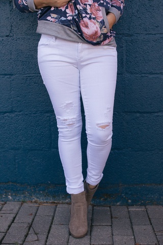 White Destressed Skinny Jeans