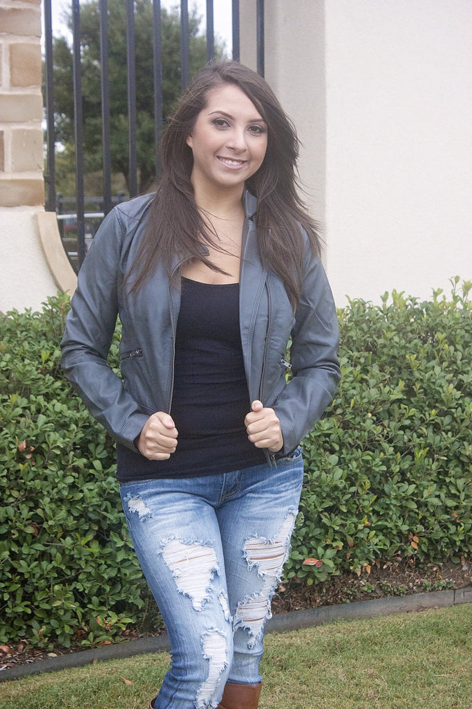 Biker Jacket-Charcoal - Bloom and Snow Boutique