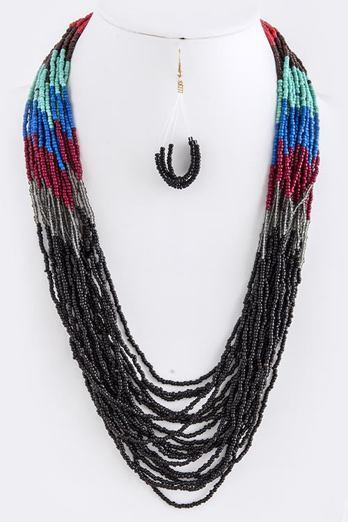 Seed Bead Necklace - BLACK - Bloom and Snow Boutique