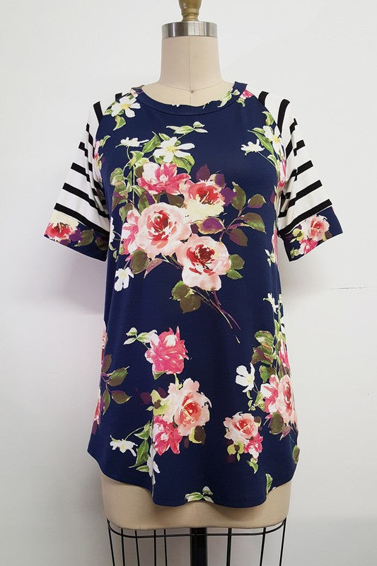 Navy Floral and Strip - Bloom and Snow Boutique