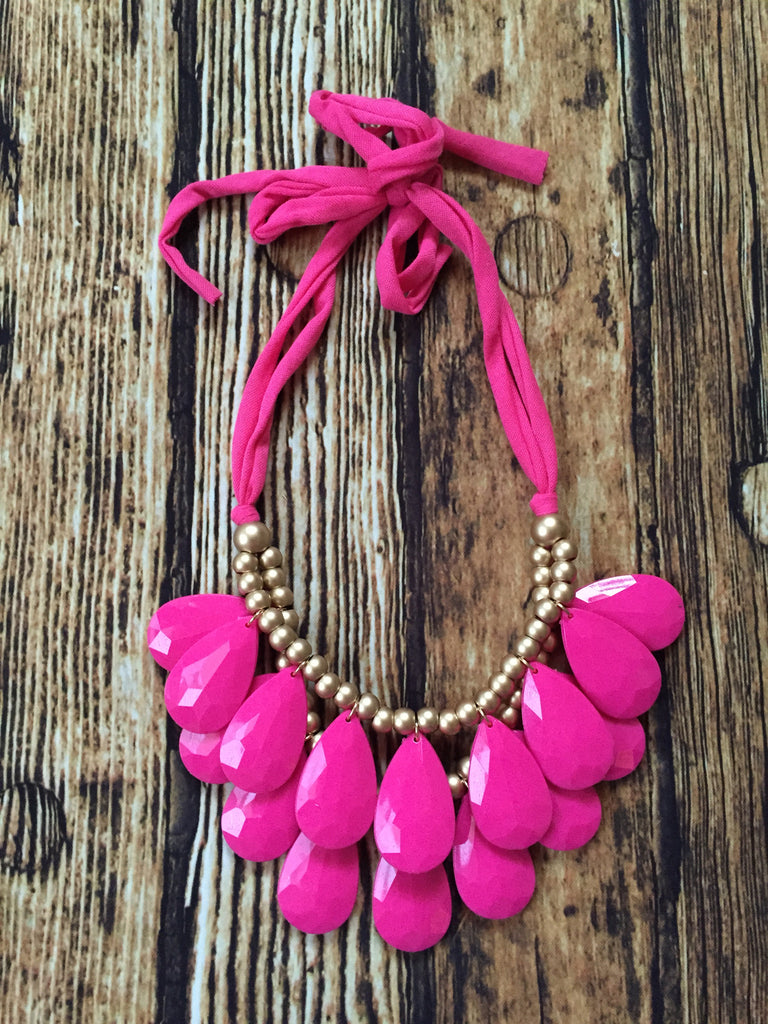 Tear Drop Necklace- (PINK) - Bloom and Snow Boutique