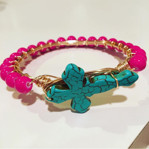 Turquoise Cross w/ hot pink wrap