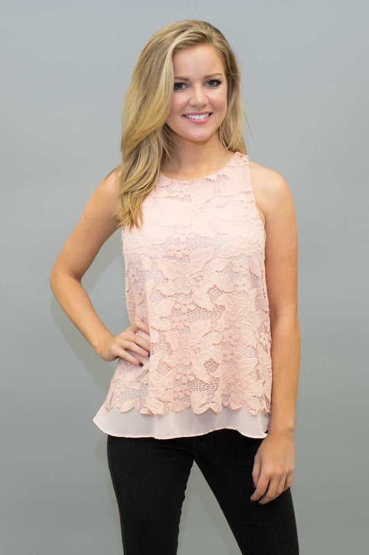 Lace Scallopped Hem Top - Bloom and Snow Boutique