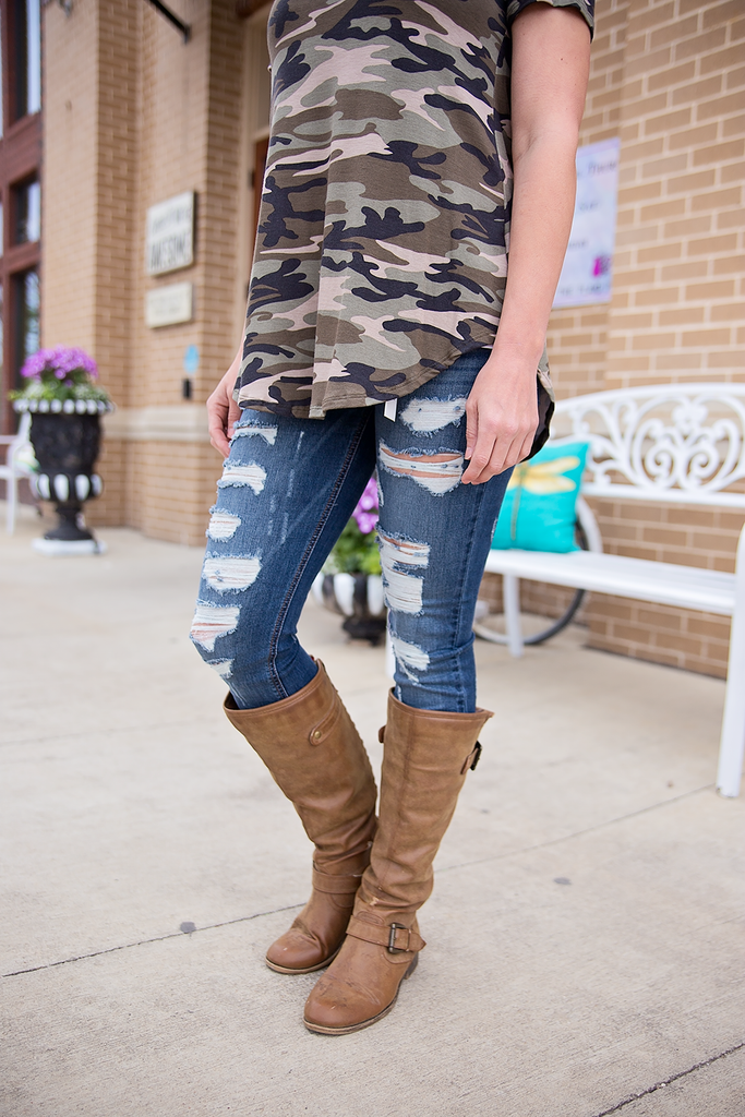 Distressed Dark Skinny Jeans - Bloom and Snow Boutique