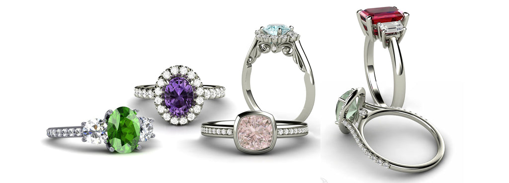 Colored Gemstone Engagement Rings by Rare Earth Jewelry