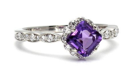Asscher Amethyst Halo Ring Rare Earth Jewelry