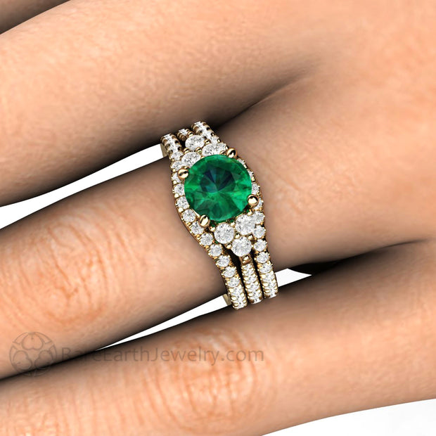 1 Carat Emerald Engagement Ring Bridal Set Double Diamond Wedding Bands 3 Stone Style Rare Earth Jewelry