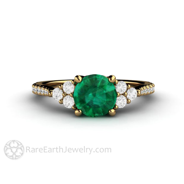 1 Carat Round Cut Emerald Engagement Ring 18K Yellow Gold Diamond Cluster Setting Rare Earth Jewelry